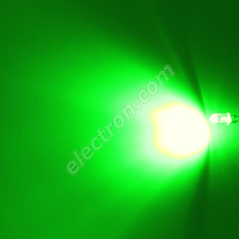 LED 5mm 0.5W Green Color 10000mcd/90° Water Clear Lens Hebei 05W580EGC