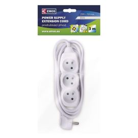 Power Supply Extension Cable 3x1.0mm 3 plugs 3m White