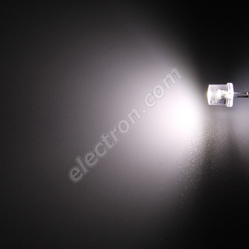 LED 5mm Cool White Color 1500mcd/100° Water Clear Lens Hebei 599PWC