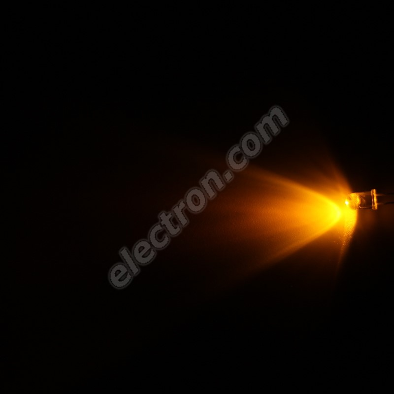 LED 5mm Yellow (Amber) Color 1500mcd/65° Water Clear Lens Hebei 560MY8C