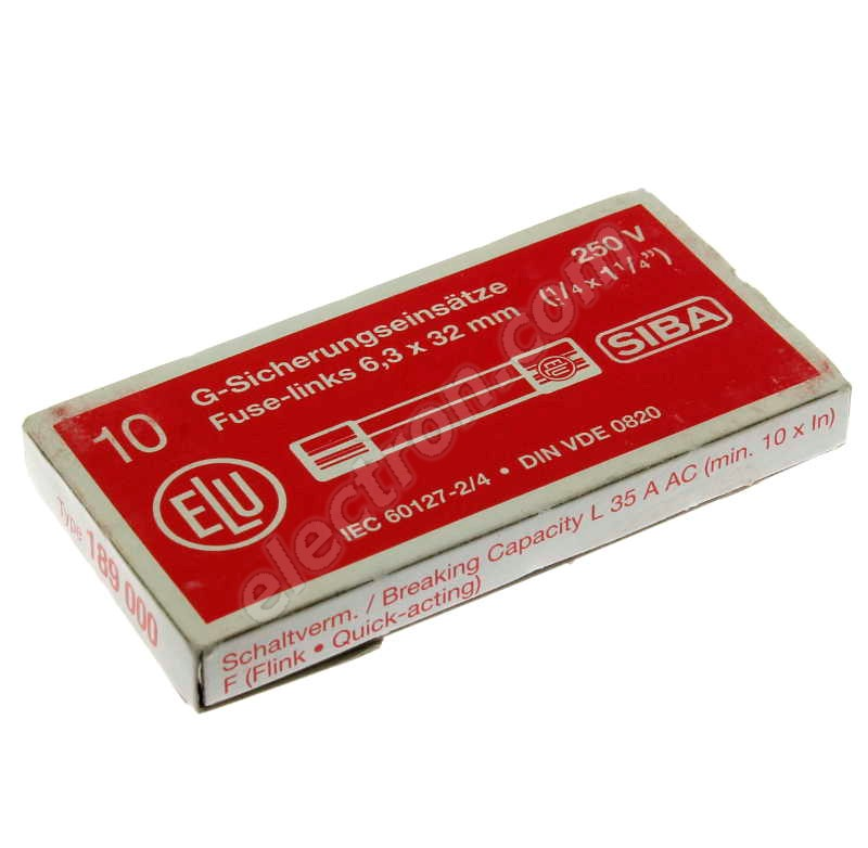 Glass Fuse F (Fast Acting) - SIBA 189000-6,3 A