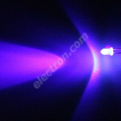 LED 3mm Ultraviolet (UV) Color 4000uW/30° Water Clear Lens Hebei 330MUV9C