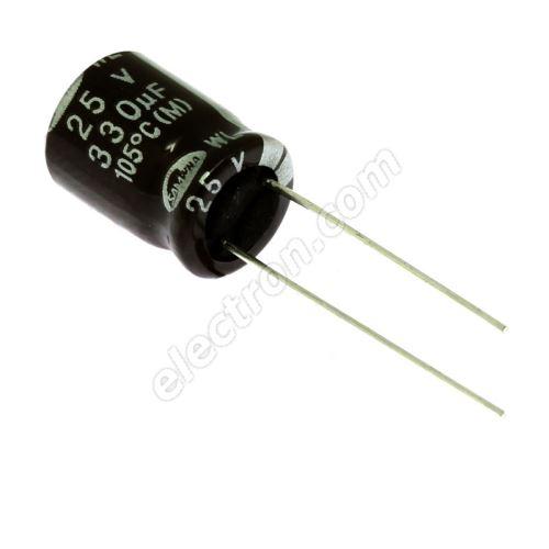 Electrolytic Radial E 330uF/25V 10x12.5 RM5 105°C low ESR Samwha WL1E337M1012MBB