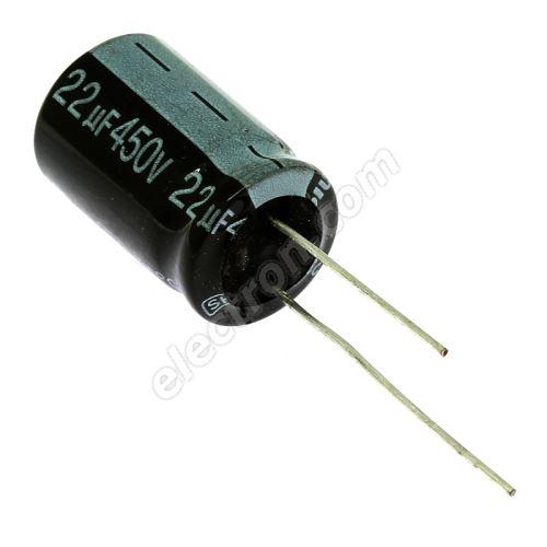 Electrolytic Radial E 22uF/450V 16x25 RM7.5 85°C Jamicon SKR220M2WK25M