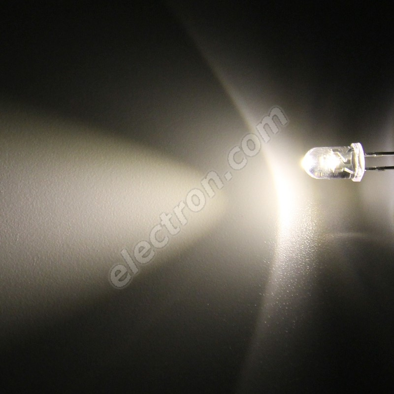 LED 5mm Warm White Color 6000mcd/50° Water Clear Lens Hebei 550PWO4C