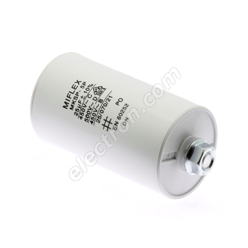 Motor Start Capacitor 25uF/450V ±10% Faston 6.3mm Miflex I15KV625K-B