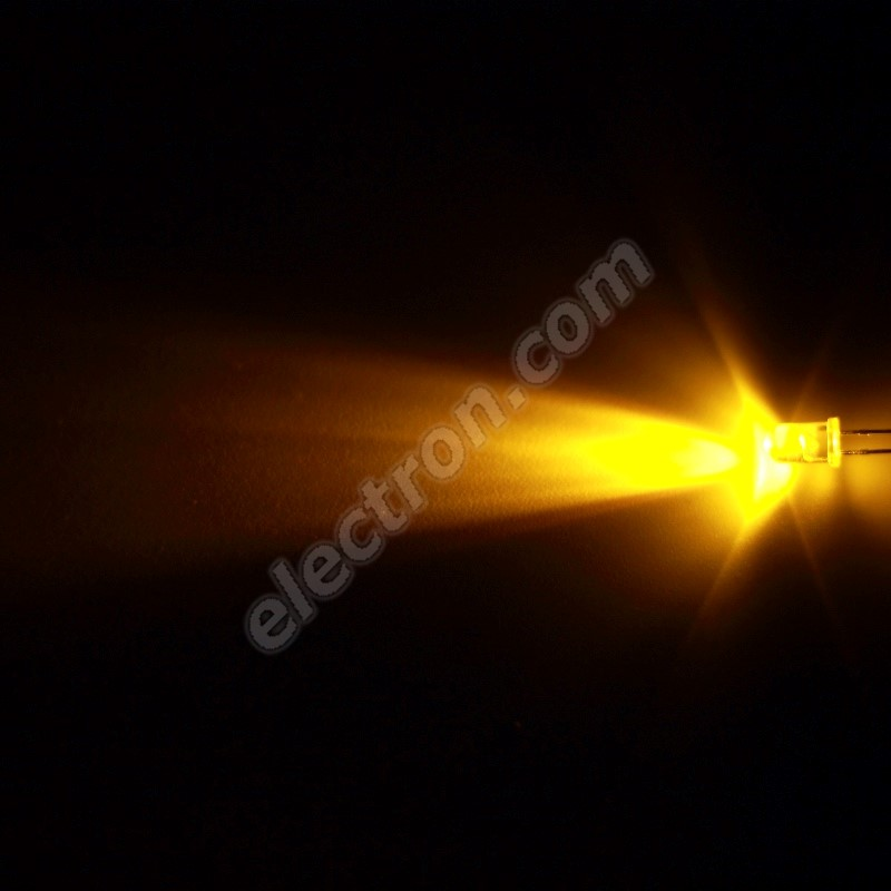 LED 5mm Yellow (Amber) Color 1500mcd/30° Water Clear Lens Hebei 530XY8C