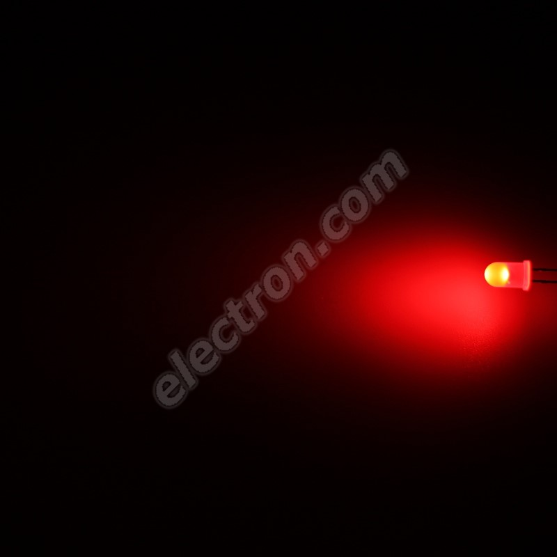 LED 5mm Red Color 600mcd/70° Diffused Lens Hebei 560MR2D