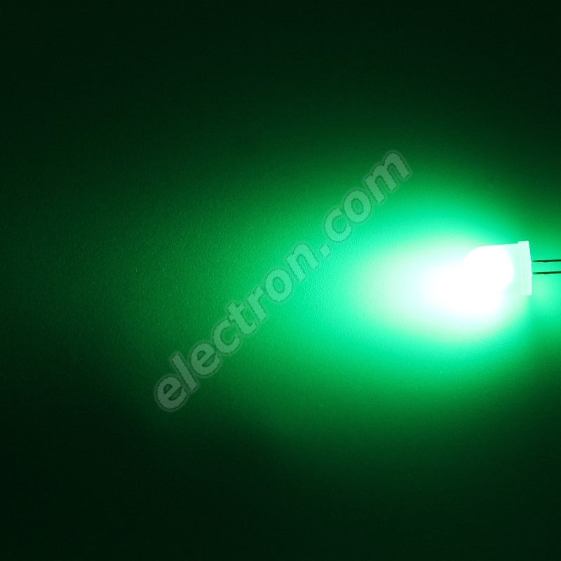 LED 10mm Green Color 2100mcd/50° Diffused Lens Hebei 105PG2D