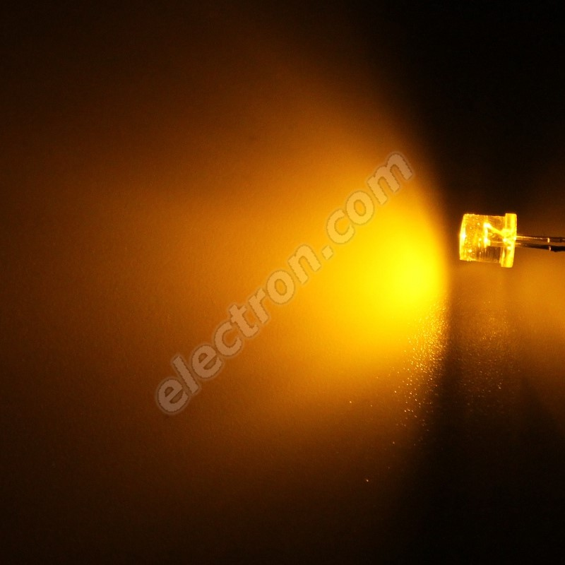 LED 5mm Yellow (Amber) Color 770mcd/100° Water Clear Lens Hebei 599MY8C