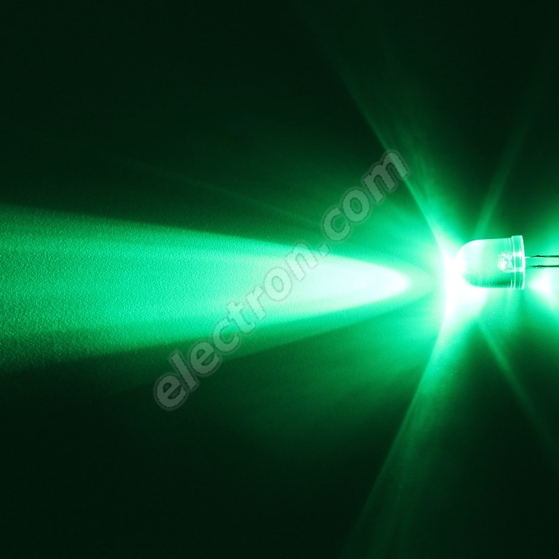 LED 10mm Green Color 33000mcd/23° Water Clear Lens Hebei 1025PG2C