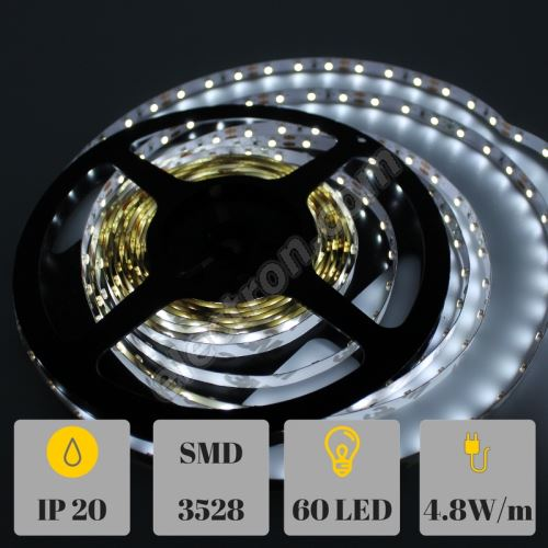 Non-Waterproof LED Strip 3528 Cool White - STRF 3528-60-CW - 1 meter length