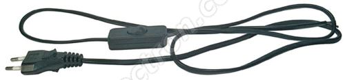 PVC Euro Power Cable 2x0.75mm 3m length Black Color with Switch