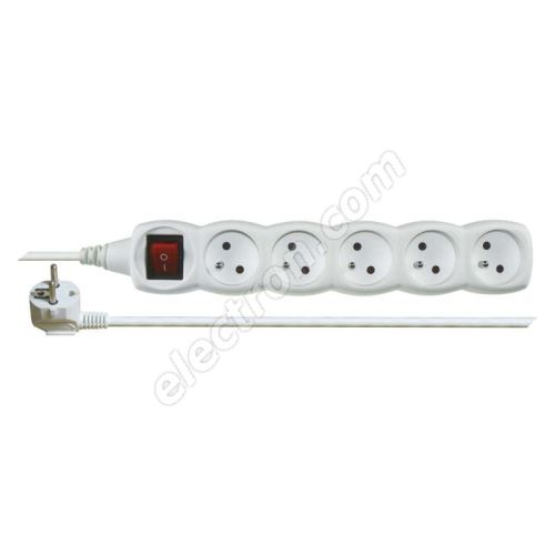Power Supply Extension Cable 3x1.0mm 5 plugs 10m White with Switch