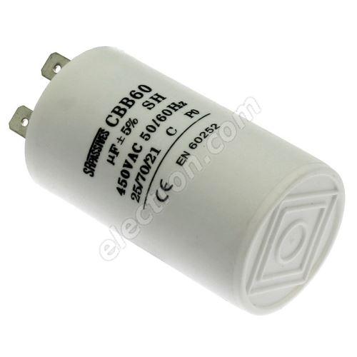 Motor Start Capacitor 60uF/450V ±10% Faston 6.3mm SR Passives CBB60A-60/450