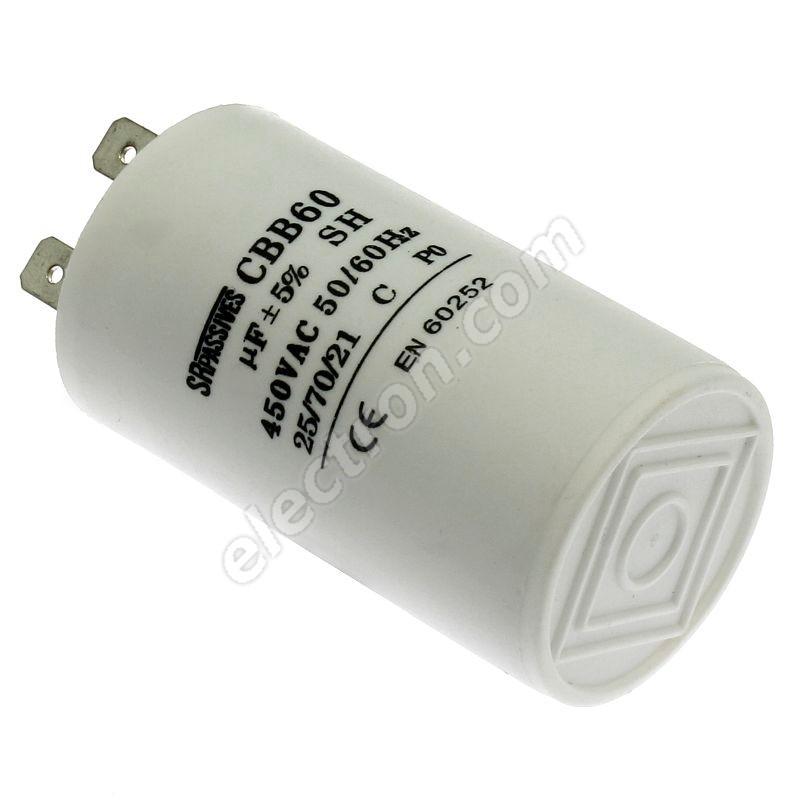 Motor Start Capacitor 6uF/450V ±10% Faston 6.3mm SR Passives CBB60A-6/450