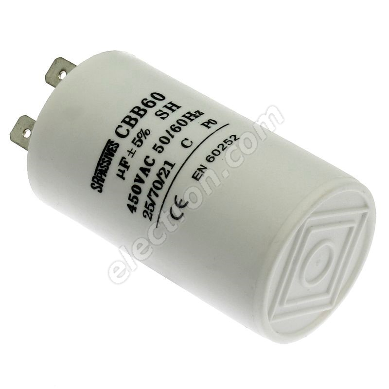 Motor Start Capacitor 8uF/450V ±10% Faston 6.3mm SR Passives CBB60A-8/450