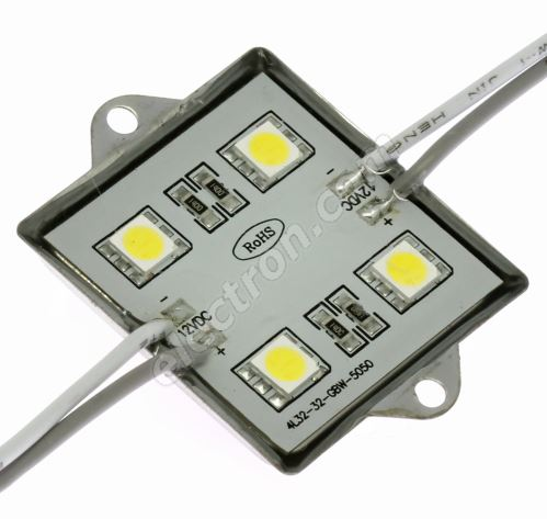 LED module 4xLED 0.96W Warm White, 72lm/120° - 36x36mm Hebei LM-5050W3-4P-12V