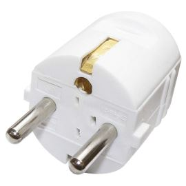Schuko Power Plug with Earthing Contact 250V AC/16A white