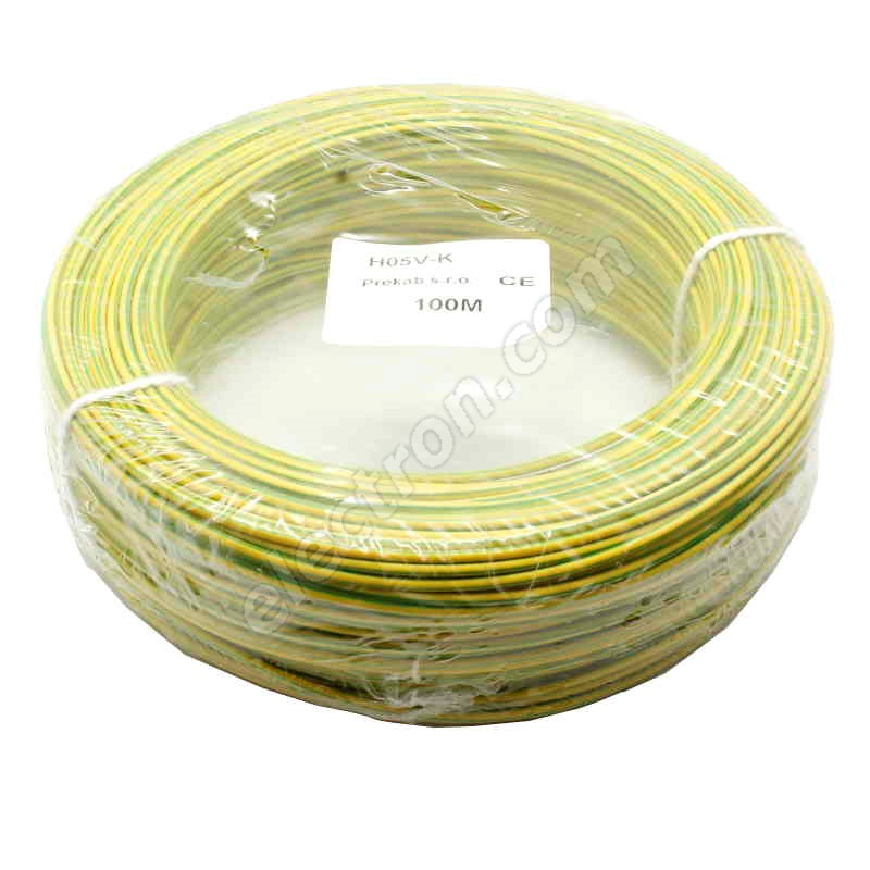 PVC Insulated Stranded Wire H05V-K 1x0.5mm Green&Yellow
