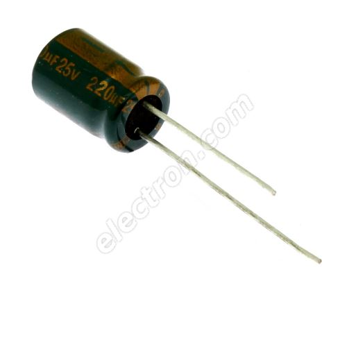 Electrolytic Radial E 220uF/25V 8x11.5 RM3.5 105°C low ESR Jamicon WLP221M1EFBBRE3