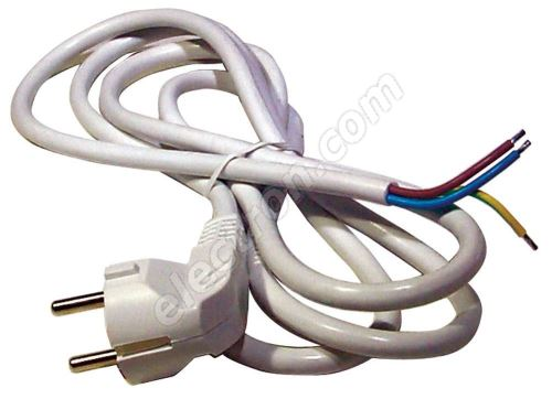 PVC Schuko Power Cable 3x1.0mm 2m length White Color