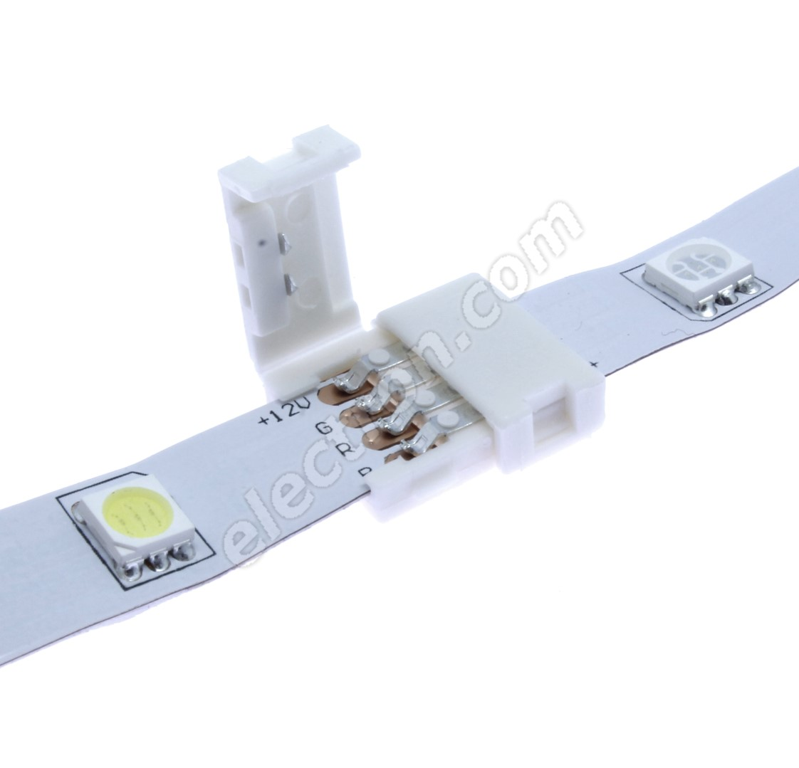 10mm 4pin Solderless Clip-on Connector for 5050 LED Strip Multicolor