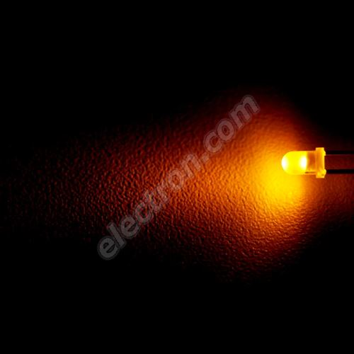 LED 3mm Yellow (Amber) Color 20mcd/30° Difussed Lens Optosupply OSNY3134A