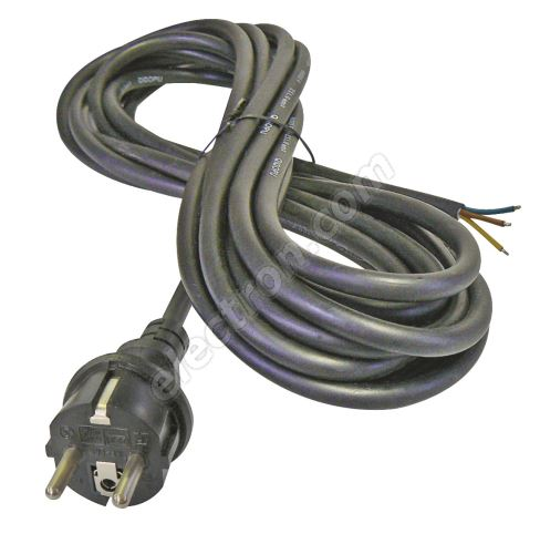 Rubber Schuko Power Cable 3x2.5mm 5m length Black Color