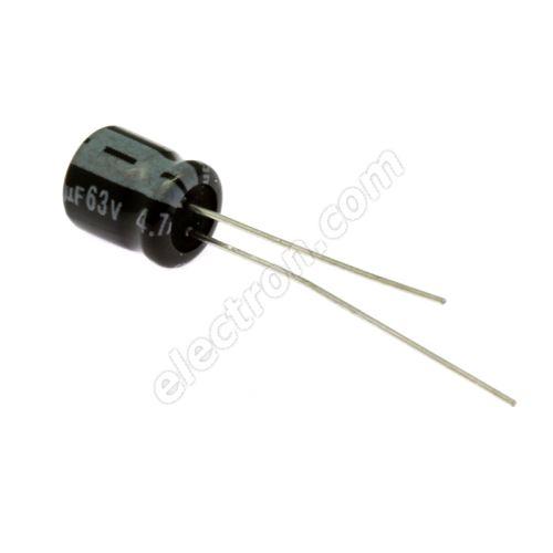 Electrolytic Radial E 4.7uF/63V 6.3x7 RM2.5 85°C Jamicon SSR4R7M1JE07M