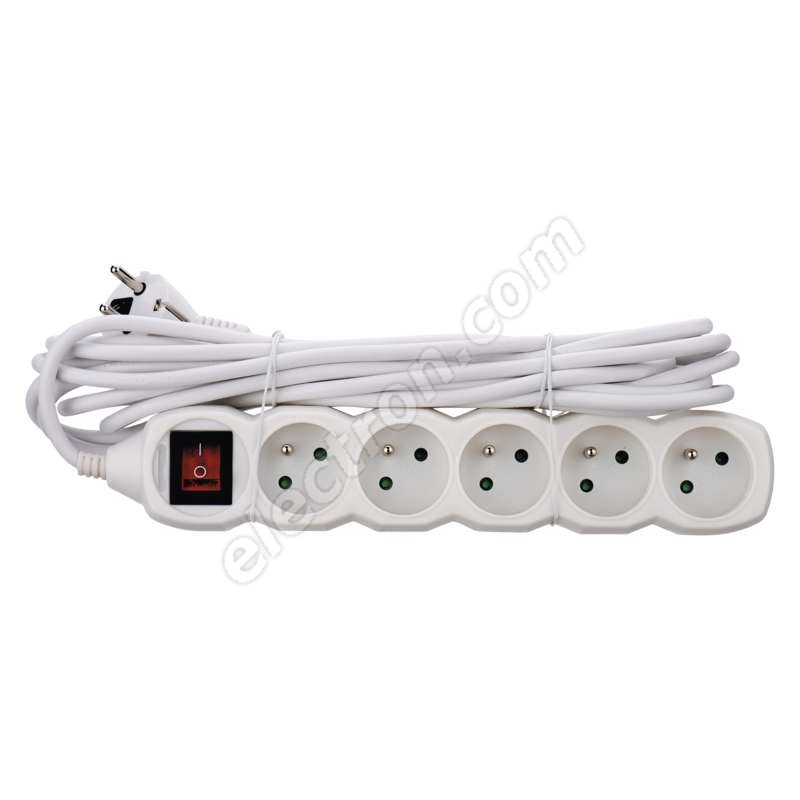 Power Supply Extension Cable 3x1.0mm 5 plugs 5m White with Switch