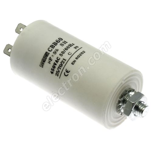 Motor Start Capacitor 10uF/450V ±10% Faston 6.3mm SR Passives CBB60E-10/450