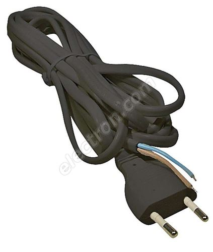 PVC Euro Power Cable 2x0.75mm 2m length Black Color