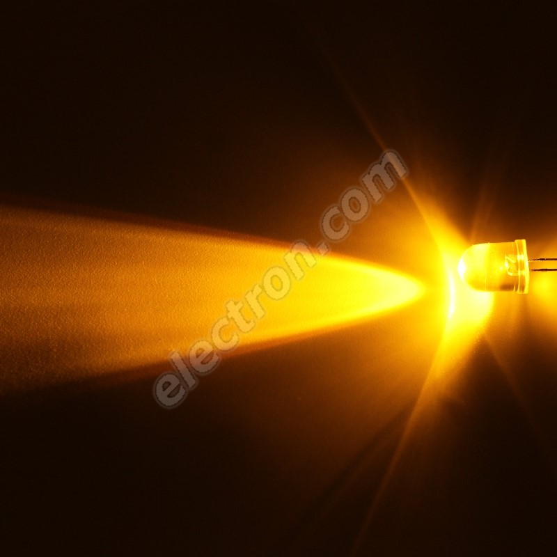 LED 10mm Yellow (Amber) Color 5860mcd/23° Water Clear Lens Hebei 1025MY8C