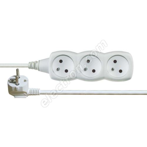 Power Supply Extension Cable 3x1.0mm 3 plugs 10m White