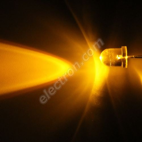 LED 8mm Yellow (Amber) Color 6000mcd/20° Water Clear Lens Hebei 825MY8C