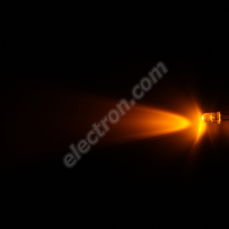LED 5mm Yellow (Amber) Color 3000mcd/40° Water Clear Lens Hebei 540MY8C
