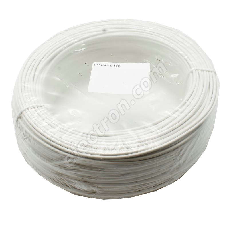 PVC Insulated Stranded Wire H05V-K 1x0.5mm White