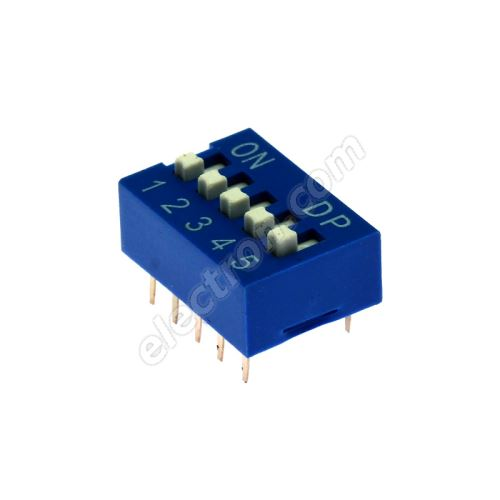 DIP switch Kaifeng KF1001-05PG-BLUE