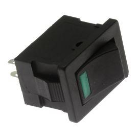 Rocker Switch Jietong MIRS-101-3+LED GREEN-B/B