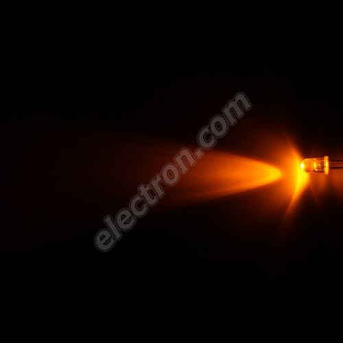 LED 5mm Yellow (Amber) Color 6000mcd/23° Water Clear Lens Hebei 520MY8C