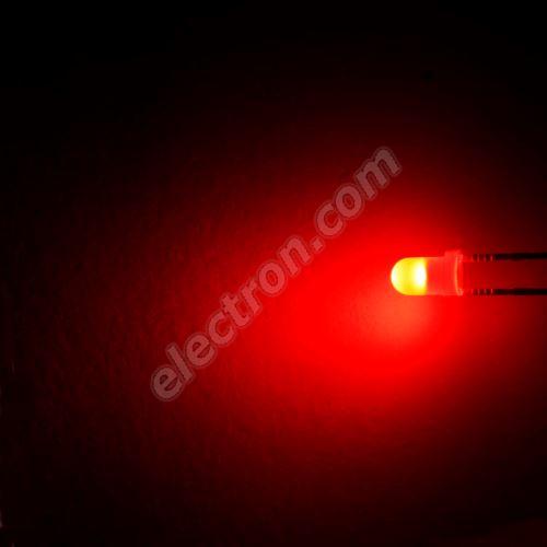 LED 3mm Red Color 550mcd/30° Difussed Lens Optosupply OSR5JA3134A-IJ