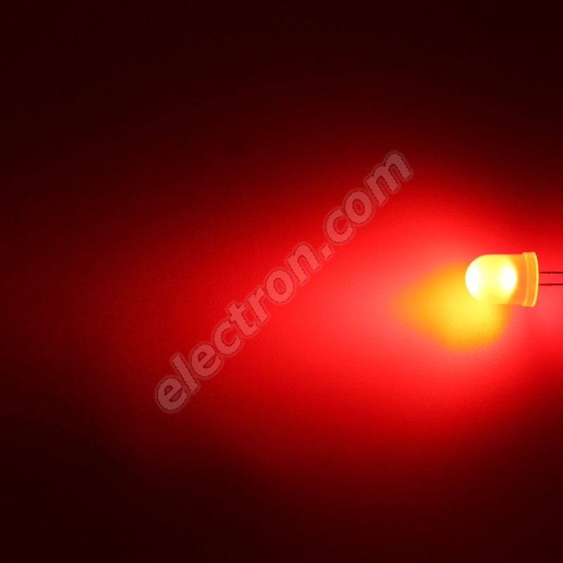 LED 10mm Red Color 1100mcd/50° Diffused Lens Hebei 105MR2D