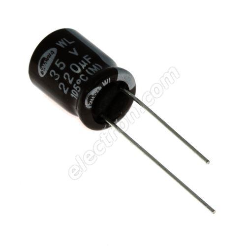 Electrolytic Radial E 220uF/35V 10x12.5 RM5 105°C low ESR Samwha WL1V227M1012MBB