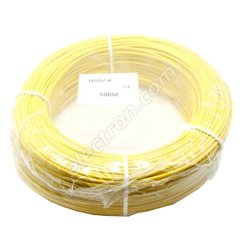PVC Insulated Stranded Wire H05V-K 1x0.5mm Yellow
