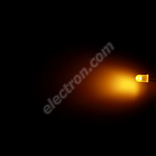 LED 5mm Yellow (Amber) Color 800mcd/70° Diffused Lens Hebei 560MY8D